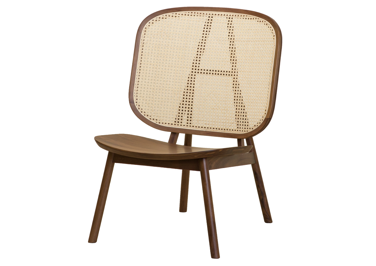 CANE lounge chair, walnut natural