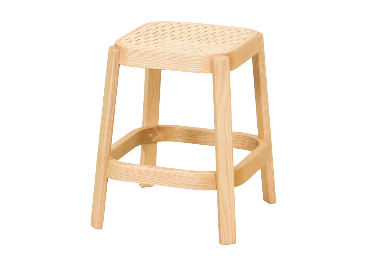 CANE low stool, natural