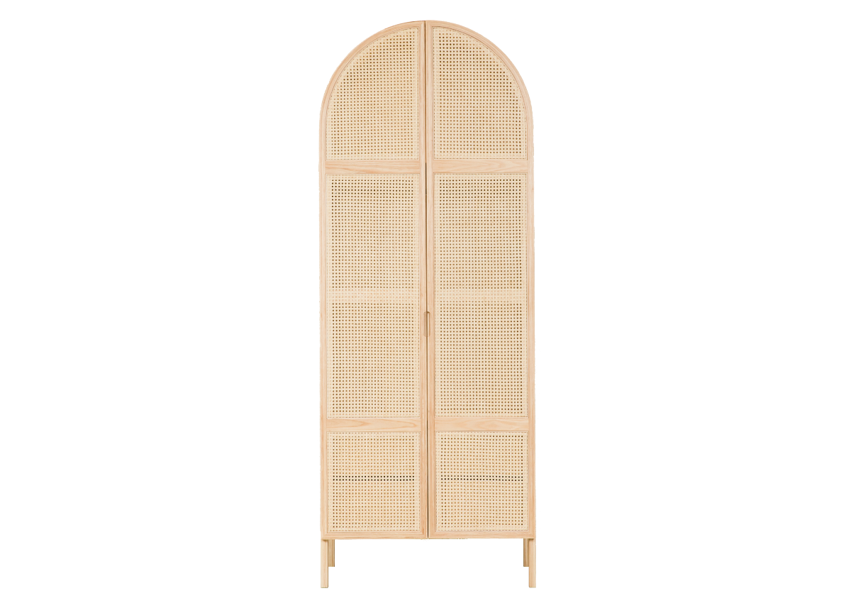 CANE wardrobe, natural ash