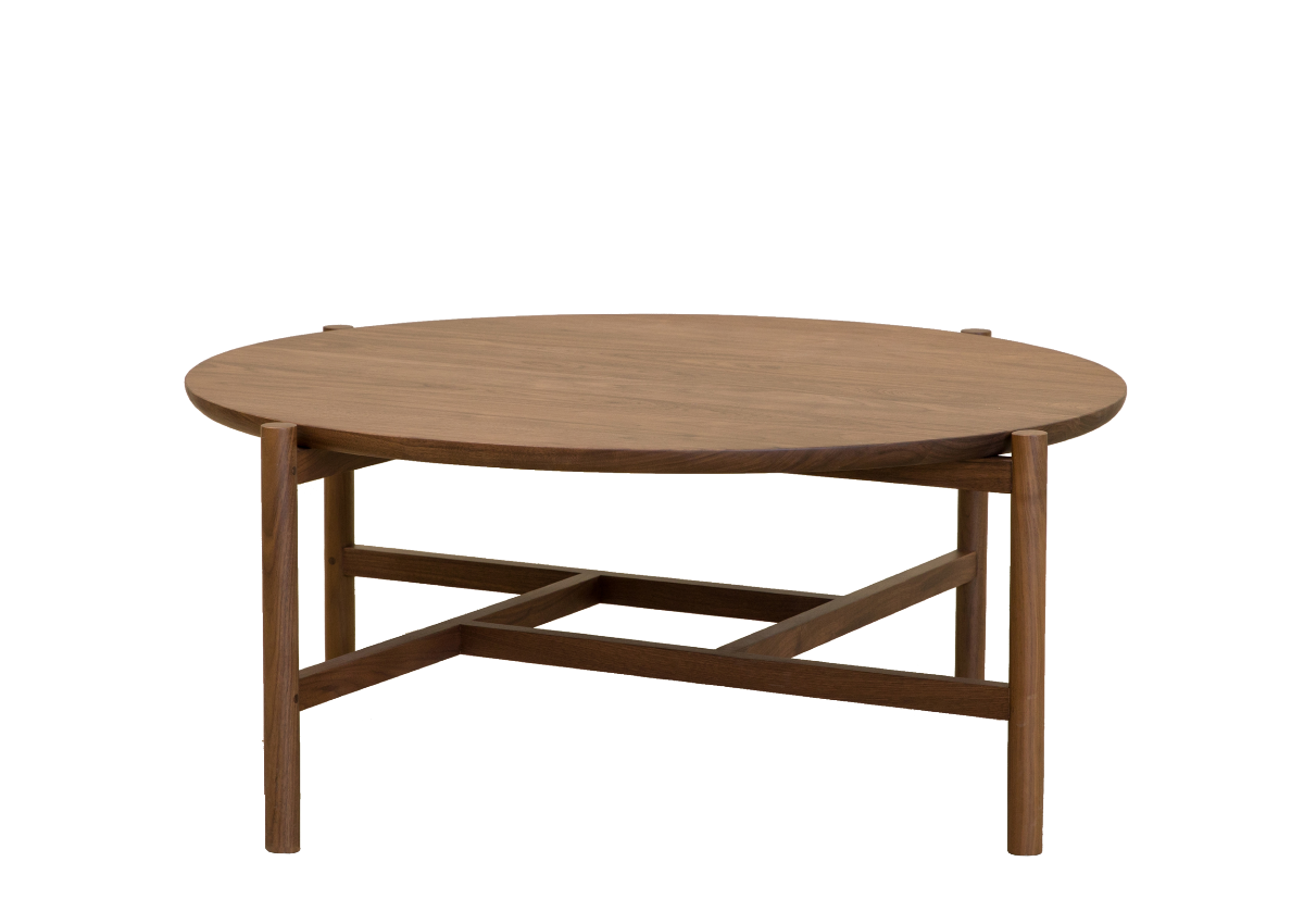 Round tea table, walnut natural