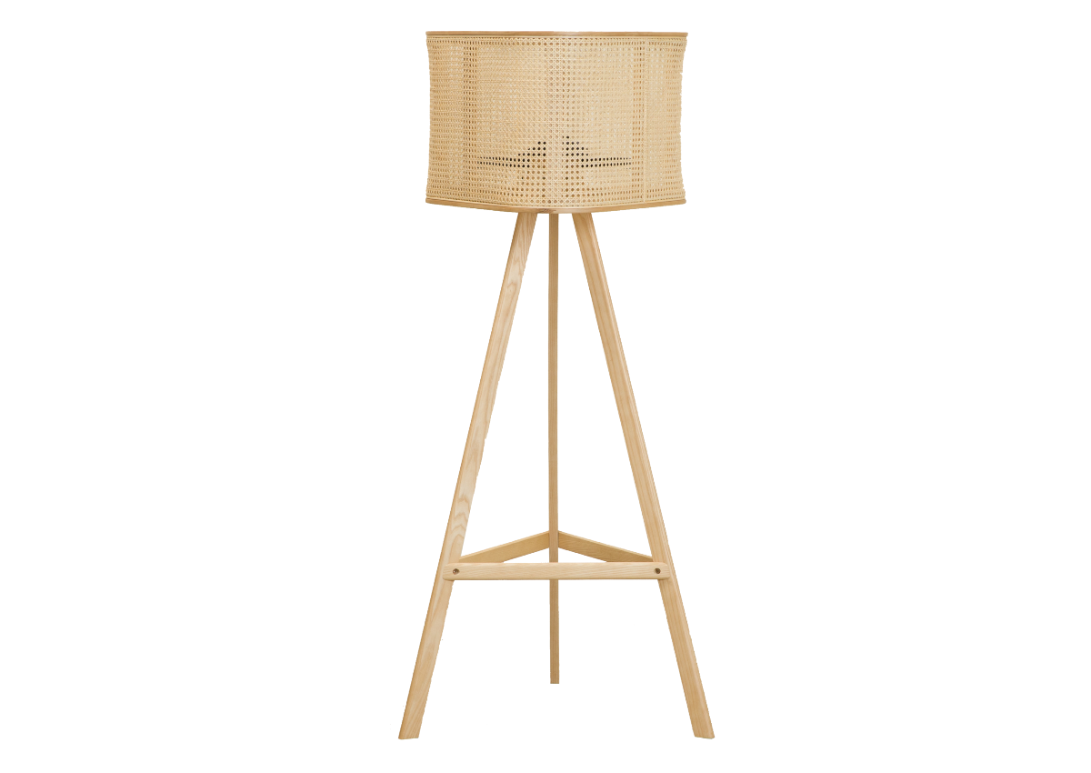 CANE floor lamp, natural ash